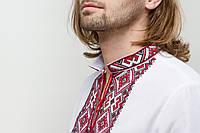 Чоловіча вишиванка Берегиня бордо на білому, фото 1