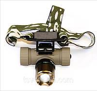 Фонарь налобный со съемным аккумулятором, с фокусировкой луча Bailong BL-6855 5000W, туристический