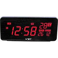 Электронные настольные часы VST-763W-1 с красной подсветкой + датчик температуры и дата