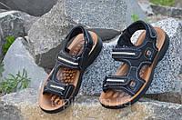 Босоножки, сандали на липучках мужские популярные черные искусственная кожа 2017. Лови момент 42