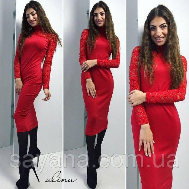 Очень красивое женское платье с гипюром. Аб-303-0417