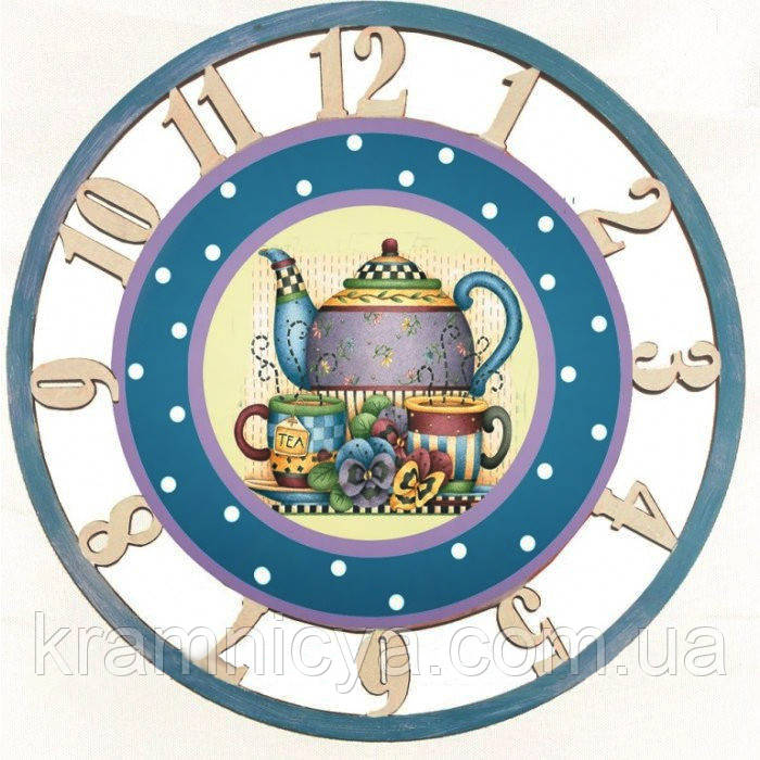 """Декупаж Часы """"Приятное чаепитие"""""""