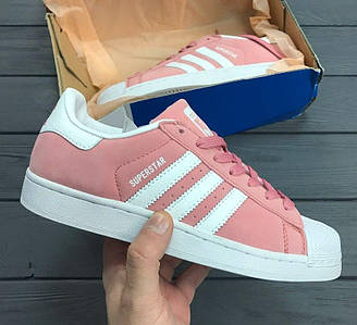 Женские кроссовки Adidas Superstar Suede Pink White