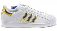 Женские кроссовки в стиле Adidas Superstar Mujer White/Gold