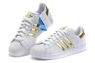 Женские кроссовки в стиле Adidas Superstar Mujer White/Gold, фото 2