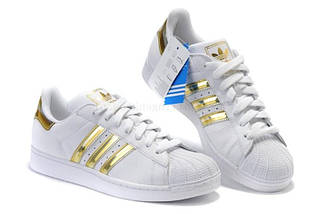 Женские кроссовки в стиле Adidas Superstar Mujer White/Gold, фото 3