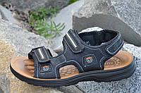 Босоножки, сандали на липучках мужские популярные черные искусственная кожа. Лови момент