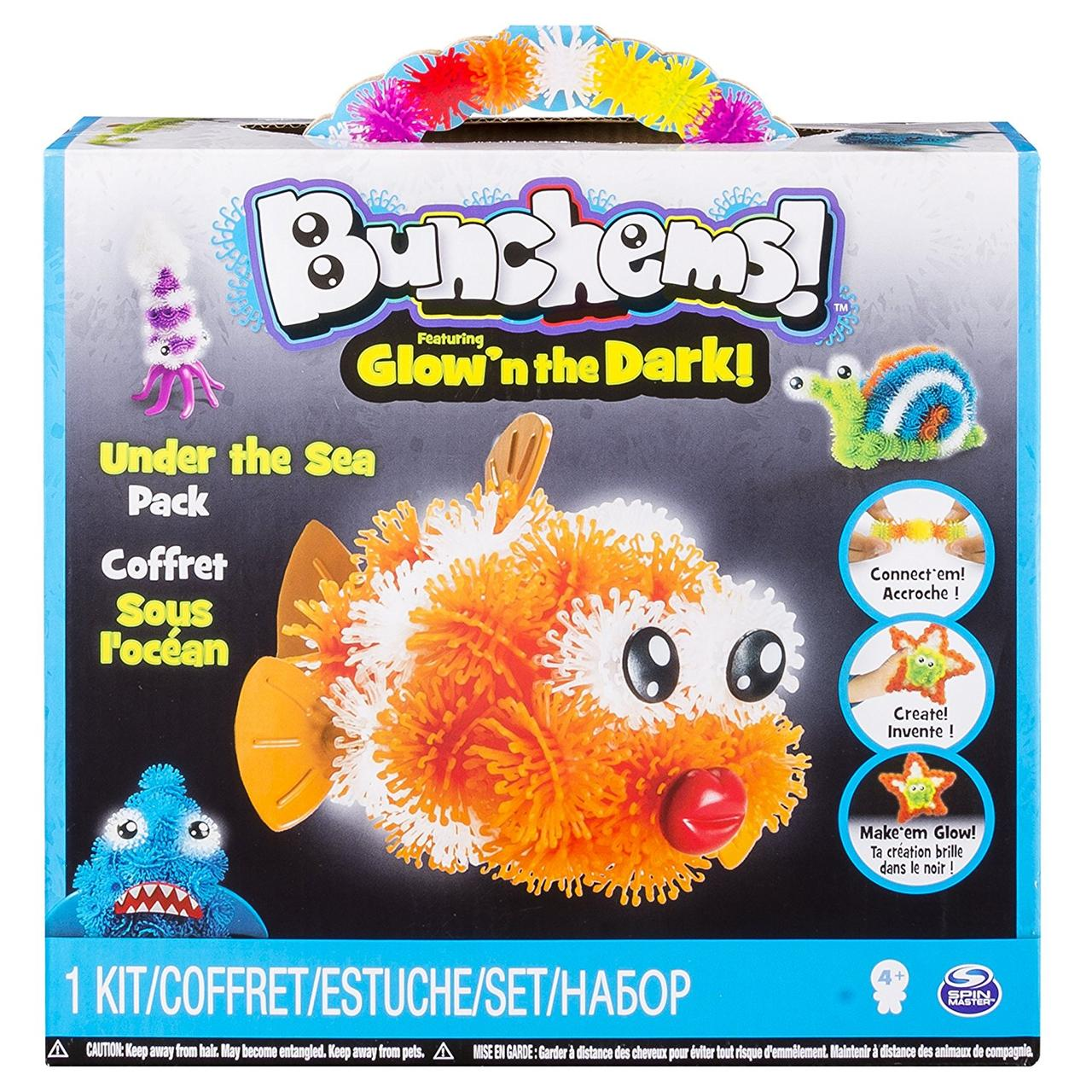 Конструктор Банчемс 200+ светящийся, Bunchems Glow'n the Dark-Under The Sea Pack, Spin Master, Оригинал из США