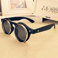 Модные  Солнцезащитные Очки Ретро Двойные Флип Панк Черный Каркас