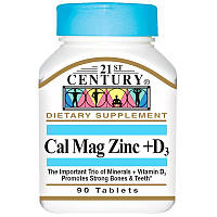21st Century, Кальций, магний, цинк + D3, 90 таблеток, Century, Cal Mag Zinc