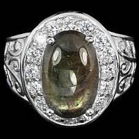 """Потрясающий  перстень """"Нимфа"""" с зеленым  сапфиром , размер 17  студия LadyStyle.Biz, фото 1"""