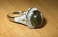 """Крупный шикарный перстень """"Лесной"""" с желто-зеленым звездчатым сапфиром , размер 17.3  студия LadyStyle.Biz, фото 1"""