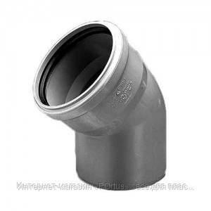 Отвод (колено) 110х67º ПВХ Wavin с раструбом и уплотнительным кольцом для внутренней канализации серый