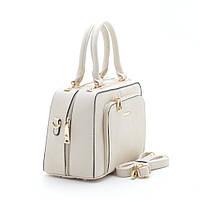 Модная каркасная женская бежевая сумка с карманом спереди