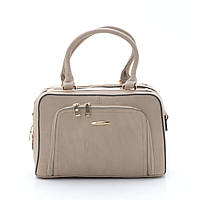 Модная каркасная женская темно бежевая сумка с карманом спереди