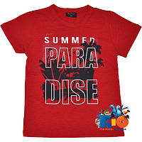 """Детская футболка с ярким принтом """"Paradise"""" , трикотаж , для мальчиков (рост 140-176 см) (4 ед. в уп.)"""
