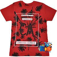 """Летняя футболка с ярким принтом """"Endless Summer"""" , трикотаж , для мальчика (рост 140-176 см) (4 ед. в уп.)"""