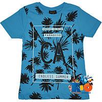"""Детская футболка с ярким принтом """"Endless Summer"""" , трикотаж , для мальчиков (рост 140-176 см) (4 ед. в уп.)"""