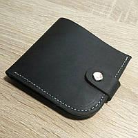 Кожаное портмоне черное на кнопке