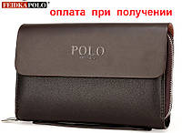 Мужская фирменная кожаная барсетка, клатч, кошелек, портмоне Polo, фото 1
