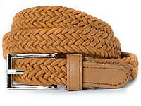 Тонкий текстильный женский ремень-резинка коричневого цвета с хромированой пряжкой Alon (Алон) 11271