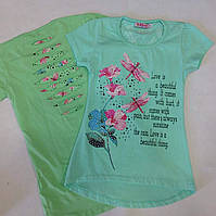 Детская футболка для девочки оптом на 5-8 лет мята