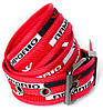 Мужской текстильный ремень в красном цвете с металлической пряжкой в стиле Armani (30118), фото 3