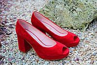 Женские туфельки с открытым носком натур замша высшее качество!, фото 1