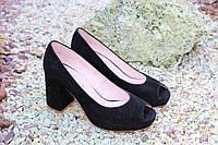 Женские туфельки с открытым носком натур замша высшее качество!