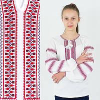 Белая трикотажная вышиванка для девочки