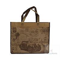 Эко сумка для покупок маленькая с принтом ретро автомобиля