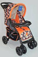 Прогулочная детская коляска Sigma YK-8F с мягким матрасиком. Оранжевая