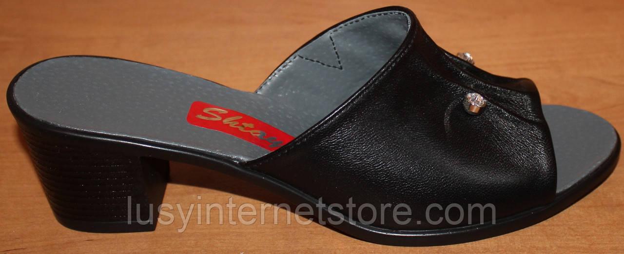 d6fba749a Кожаные сабо на среднем каблуке, летняя женская обувь от производителя  модель СТЛ23