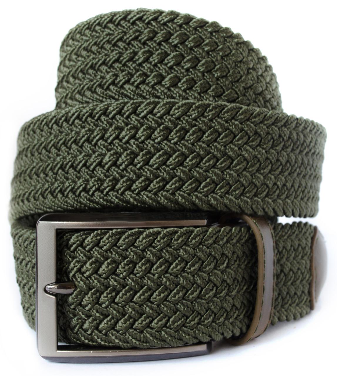 Красивый текстильный мужской ремень резинка зеленого цвета с хромированной пряжкой Alon (Алон)