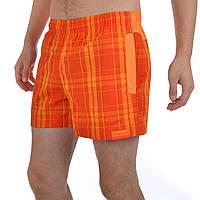 Шорты пляжные мужские Reebok Checked Swimming X17389 (оранжевые, хлопок, можно плавать, с логотипом рибок)