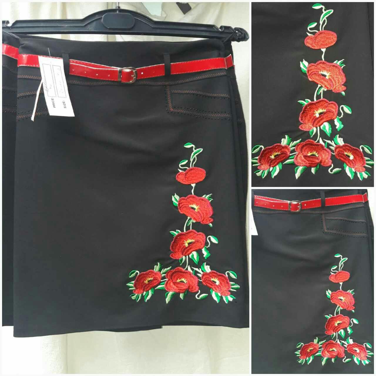 Черная юбка с вышивкой, пояс, 44-52 р-ры, 375/325 (цена за 1 шт. + 50 гр.)