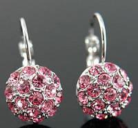 Серьги Pink Ball Earrings use Swarovski Crystal е серебром 925