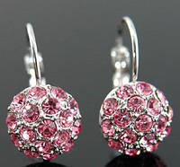 Серьги Pink Ball Earrings use Swarovski Crystal е серебром 925