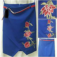 Вышитая женская юбка с пояском, цвет - электрик, 42-48 р-ры, 345/285 (цена за 1 шт. + 60 гр.)