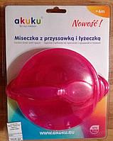 Akuku Тарелка на присоске с ложечкой 0304