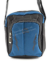 Удобная маленькая тканевая мужская сумочка  art. 003 серый/синий Турция