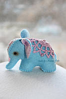 Индийский голубой слоник из фетра, миниатюрный слон в подарок
