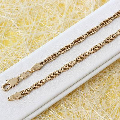 014-0664 - Позолоченная цепочка плетение Лисий хвост со звеньями разной ширины, 60 см