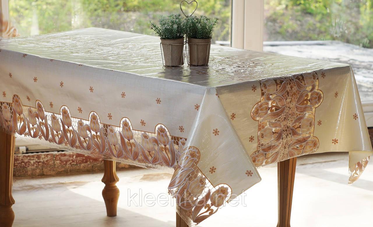 Клеенка на кухонный стол Ажур Тюльпаны