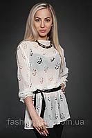Шифоновая блуза с поясом, шифон перфорированный