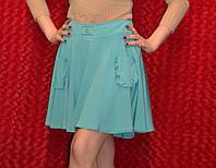 Летнее голубая юбка клёш