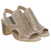 Босоножки женские Verona (кожаные, с перфорацией, на удобном каблуке)