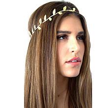 Повязка на волосы в греческом стиле золотистая Листики