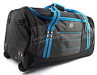 Стильная яркая вместительная удобная дорожная сумка на колесиках RUXINDA art. №2 синяя/черная