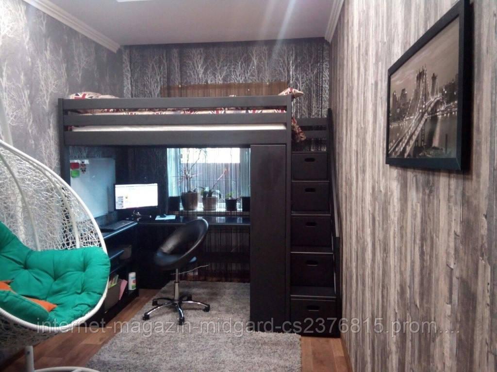 Двухярусная кровать-чердак Джерри + (стол, комод, стеллаж) массив